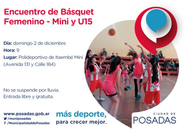 El domingo se realizará el último Encuentro de Básquet Femenino Mini y U15 del año